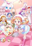 5girls :d ^_^ ^o^ anger_vein apron arisugawa_himari biburi_(precure) blue_dress blue_eyes blue_footwear blue_hair blue_neckwear blue_pants blue_shirt boots bow bowtie braid brown_eyes brown_hair buck_teeth character_print checkered checkered_floor chourou_(precure) clenched_hands closed_eyes cover cover_page cravat doriyamatsurugi doujin_cover dress dropping fine_art_parody foreshortening hand_on_hip hat highres indoors kenjou_akira kirakira_patisserie_uniform kirakira_precure_a_la_mode kirarin_(precure) kitchen knee_boots kotozume_yukari lamp long_hair low_twintails multiple_girls necktie open_mouth orange_hair outstretched_arms oven pants parody pekorin_(precure) pikario_(precure) pink_eyes pink_footwear pink_neckwear precure puffy_sleeves purple_footwear purple_hair purple_neckwear red_footwear red_neckwear redhead shirt short_hair short_sleeves smile sweatdrop tategami_aoi the_scream tray tripping twin_braids twintails usami_ichika violet_eyes wavy_mouth white_apron white_headwear yellow_footwear yellow_neckwear