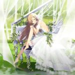 1girl album_cover barefoot brown_hair cover dress feathered_wings feathers flower from_side hair_ornament instrument ivy knee_up long_hair looking_at_viewer looking_to_the_side low_wings original outdoors piano sitting smile sogawa solo stool water wedding_dress white_dress white_flower white_wings wings wristband