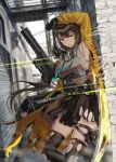 1girl arm_up armpits black_gloves black_hair black_legwear blurry blurry_background breasts building floating_hair gas_mask girls_frontline gloves gun hand_up headset heterochromia highres holding holding_gun holding_weapon id_card lanyard large_breasts long_hair long_sleeves looking_at_viewer miniskirt multicolored_hair open_clothes parted_lips pleated_skirt ro635_(girls_frontline) silence_girl skirt sleeveless solo standing streaked_hair thigh-highs thighs torn_clothes torn_legwear torn_skirt very_long_hair weapon yellow_eyes