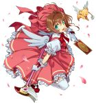 1girl :d antenna_hair aqua_eyes ayanon between_fingers bow brown_hair card cardcaptor_sakura clow_card creature dress from_above full_body fuuin_no_tsue gloves hat hat_bow highres holding holding_wand kero kinomoto_sakura magical_girl open_mouth petals petticoat puffy_short_sleeves puffy_sleeves red_dress red_footwear red_headwear short_hair short_sleeves smile thigh-highs wand white_background white_bow white_gloves white_legwear white_wings wings