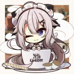 1girl 7:08 9a-91_(girls_frontline) apron bangs blue_eyes blush_stickers breasts chibi closed_eyes commentary_request cup eyebrows_visible_through_hair girls_frontline hair_between_eyes hair_ornament highres long_hair maid maid_headdress one_eye_closed plate silver_hair smile solo spoon teacup