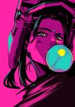 1girl apex_legends bubble_blowing chewing_gum chromatic_aberration facial_mark forehead_mark grey_eyes highres limited_palette looking_at_viewer pink_background pink_theme pokimari portrait rampart_(apex_legends) simple_background solo spot_color