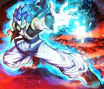 1boy aura black_footwear blue_eyes blue_hair bracer clenched_hand closed_mouth dragon_ball dragon_ball_super dragon_ball_super_broly fighting_stance gogeta highres male_focus mattari_illust metamoran_vest muscle pants pectorals smile solo spiky_hair super_saiyan super_saiyan_blue white_pants
