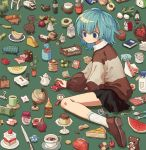 1girl apple avocado basket basketball beans black_skirt blue_eyes blue_hair book bottle brown_footwear bucket cactus cake cake_slice candy carrot chair cherry chocolate chocolate_bar clock closed_mouth coffee coffee_mug cup cutting_board dot_nose doughnut elephant fava_bean fingernails flower food fork fried_egg fruit globe green_background highres ironing_board jar ka_(marukogedago) knife lego_brick long_sleeves melon mop mug olive original pacifier pancake pencil_case plant pleated_skirt postage_stamp potted_plant pudding sandwich sewing_machine shoes short_hair simple_background sitting skirt slippers smile socks solo spoon strawberry stuffed_animal stuffed_toy sweater table tagme tape teddy_bear tissue_box toy_car toy_truck tray tree turnip wariza watering_can watermelon white_legwear wine_bottle