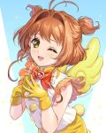 1girl ;d antenna_hair bow brooch brown_hair cardcaptor_sakura fingers_together gem gloves green_eyes jewelry kimopoleis kinomoto_sakura looking_at_viewer one_eye_closed open_mouth red_bow short_hair simple_background smile teeth two_side_up upper_body watermark web_address yellow_gloves yellow_wings