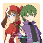 1boy 1girl bangs blue_eyes blush brown_hair closed_mouth commentary_request copyright_name drew_(pokemon) eyelashes flower green_eyes green_hair hair_between_eyes highres holding holding_flower iketsuko jacket looking_at_viewer may_(pokemon) pokemon pokemon_(anime) pokemon_rse_(anime) purple_jacket red_bandana red_flower red_rose rose short_sleeves smile upper_body