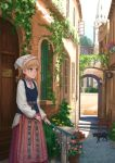 1girl black_cat blonde_hair brown_eyes cat chair door drill_hair eyebrows_visible_through_hair flower highres idolmaster idolmaster_cinderella_girls lif morikubo_nono open_window outdoors pipe plant potted_plant railing solo sunlight traditional_clothes window wooden_chair