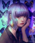 1girl bangs blunt_bangs bright_pupils bug butterfly closed_mouth ear_piercing earrings hand_up highres insect jewelry lipstick looking_at_viewer makeup medium_hair original piercing purple_hair purple_theme red_lips red_lipstick solo upper_body violet_eyes wataboku white_pupils