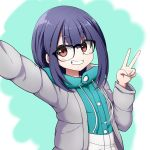 1girl arm_up bangs black-framed_eyewear black_hair blue_jacket blush drawstring eyebrows_visible_through_hair glasses grey_jacket grin hair_between_eyes highres jacket kuena long_hair long_sleeves looking_at_viewer oogaki_chiaki open_clothes open_jacket reaching_out red_eyes self_shot smile solo thick_eyebrows upper_body v v-shaped_eyebrows yurucamp