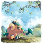 artist_name artsy-theo black_eyes closed_mouth clouds commentary cufant day elephant gen_8_pokemon grass leaves_in_wind looking_to_the_side no_humans outdoors pokemon pokemon_(creature) sitting sky smile
