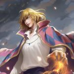 1boy bangs black_pants blonde_hair blue_eyes blue_sky blurry blurry_background blurry_foreground cape chelsea_sun chromatic_aberration collared_shirt commentary depth_of_field diamond_(shape) glowing gold_necklace highres howl_(howl_no_ugoku_shiro) howl_no_ugoku_shiro jewelry lips long_sleeves looking_away looking_to_the_side magic male_focus necklace nose outdoors outstretched_arm pants parted_lips pendant pink_cape print_cape realistic shirt shirt_tucked_in sky smile solo upper_body upper_teeth white_shirt wind