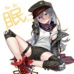 1girl bandana blush_stickers eyebrows_visible_through_hair flat_chest g11_(girls_frontline) girls_frontline hair_between_eyes half-closed_eyes hat head_tilt highres itou_(onsoku_tassha) jacket knee_pads long_hair looking_at_viewer messy_hair off_shoulder open_clothes open_jacket red_footwear shoes short_shorts shorts sidelocks silver_hair simple_background sitting sneakers solo strap_slip thigh_strap untied_shoes white_background