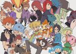 1girl 6+boys barry_(pokemon) baseball_cap bianca_(pokemon) black_shirt blue_oak brown_hair cheren_(pokemon) chimchar clenched_hands closed_eyes closed_mouth cubone eevee fangs gastly gen_1_pokemon gen_2_pokemon gen_4_pokemon gen_5_pokemon green_scarf hands_in_pockets hands_up hat highres holding holding_pokemon jewelry multiple_boys munna n_(pokemon) nashubi_(to_infinity_wow) necklace open_mouth panpour pansage pants pidgeot pokemon pokemon_(creature) pokemon_(game) pokemon_bw pokemon_dppt pokemon_frlg pokemon_gsc pokemon_lgpe pokemon_rgby popped_collar purple_wristband purrloin redhead scarf shirt silver_(pokemon) smile sneasel spiky_hair starly tongue white_background wristband zorua