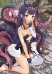 1girl absurdres animal_ears bare_shoulders black_gloves breasts clothing_cutout collarbone detached_collar detached_sleeves dress flat_chest full_body gloves gouka hair_ornament halo highres hololive hololive_english long_hair mole mole_under_eye ninomae_ina'nis pointy_ears purple_hair single_sleeve single_thighhigh sitting small_breasts solo tentacle_hair tentacles thigh-highs tongue tongue_out very_long_hair violet_eyes virtual_youtuber wings