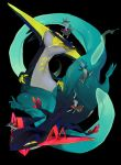 absurdres black_background black_eyes closed_mouth creature dragon highres no_humans open_mouth pokemon pokemon_(creature) pokemon_(game) saliva simple_background spine tongue tongue_out yagita_(astronomie) yellow_sclera yellow_tongue