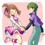 ! 1boy 1girl bangs blush bow bracelet brown_hair closed_eyes closed_mouth commentary_request drew_(pokemon) earrings green_eyes green_hair green_pants hair_bow hair_ribbon happy high_heels holding_hands iketsuko jacket jewelry leg_up may_(pokemon) open_mouth pants pink_footwear pokemon pokemon_(anime) pokemon_rse_(anime) purple_jacket ribbon short_sleeves skirt spoken_exclamation_mark tongue