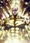 1boy abs black_sclera bodysuit frown gold golden_sperm highres looking_at_viewer male_focus muscle one-punch_man signature skin_tight solo sparkle the_golden_smurf upper_body veins