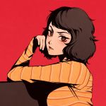 1girl bob_cut brown_eyes brown_hair close-up hand_on_own_face kawakami_sadayo light_blush looking_at_viewer moshimoshibe persona persona_5 red_background shirt short_hair solo striped striped_shirt