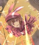 1girl animal_hat battle brown_hair building bullet bullet_line bullpup bunny_hat clouds cloudy_sky commentary_request crane_(machine) firing fur-trimmed_gloves fur-trimmed_jacket fur_trim gloves gun hat jacket llenn_(sao) open_mouth outdoors p-chan_(p-90) p90 pants piisu pink_eyes pink_gloves pink_headwear pink_jacket pink_pants short_hair sky submachine_gun sword_art_online sword_art_online:_fatal_bullet sword_art_online_alternative:_gun_gale_online tears weapon