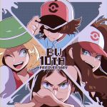 2boys 2girls :d ;d adjusting_clothes adjusting_headwear anniversary baseball_cap bianca_(pokemon) blonde_hair blue_eyes brown_hair cheren_(pokemon) commentary english_commentary english_text green_eyes hand_on_headwear hat hat_over_one_eye highres hilbert_(pokemon) hilda_(pokemon) multiple_boys multiple_girls nyantcha one_eye_closed open_mouth pokemon pokemon_(game) pokemon_bw portrait semi-rimless_eyewear shaded_face smile twitter_username under-rim_eyewear