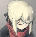 1girl artoria_pendragon_(all) black-framed_eyewear black_ribbon black_shirt blonde_hair blush boa_(brianoa) closed_mouth eyebrows_visible_through_hair fate/stay_night fate_(series) glasses grey_background hair_bun hair_ribbon highres looking_at_viewer mysterious_heroine_x_(alter) pale_skin portrait red_scarf ribbon scarf shirt simple_background solo yellow_eyes