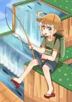 1girl :3 ahoge backpack bag bangs blonde_hair commentary_request eyebrows_visible_through_hair fish fishing_line fishing_lure fishing_rod flip-flops green_eyes green_shirt hat himesaka_noa holding holding_fishing_rod looking_at_viewer mitsukiro sandals shirt short_sleeves shorts solo thick_eyebrows watashi_ni_tenshi_ga_maiorita! water waterfall