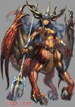 1girl abs blue_hair centauroid claws commentary_request creature dragon_girl dragon_horns dragon_tail dragon_wings fantasy horns looking_at_viewer ninnin_(shishitou) orange_skin original parted_lips pointy_ears polearm red_eyes scales smile tail toned trident vambraces weapon wings