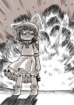 1girl :3 animal_ears ankle_boots antennae backpack bag boots detonator dress emphasis_lines explosion facing_viewer holding inaba_tewi jewelry monochrome necklace poronegi rabbit_ears solo standing sunglasses touhou
