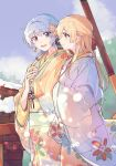 2girls bang_dream! blonde_hair closed_mouth floral_print flower hair_flower hair_ornament half_updo hanazono_suki highres japanese_clothes jewelry kimono light_blue_hair long_hair matsubara_kanon multiple_girls open_mouth red_eyes ring shirasagi_chisato sidelocks sky tree violet_eyes
