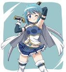 1girl ;) arm_strap bangs belt blue_belt blue_gloves blue_hair blue_shirt blue_skirt bob_cut cape commentary_request cutlass_(sword) dual_wielding elbow_gloves eyebrows_visible_through_hair fortissimo fortissimo_hair_ornament frilled_shirt frills gloves hair_ornament highres holding holding_sword holding_weapon inoue_kouji layered_gloves looking_at_viewer magical_girl mahou_shoujo_madoka_magica midriff miki_sayaka miniskirt object_behind_back one_eye_closed panties pantyshot pleated_skirt shirt short_hair skirt smile solo standing strapless_shirt sword thigh-highs thigh_strap underwear weapon white_cape white_gloves white_legwear white_panties