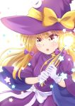 absurdres blonde_hair blush bow cowboy_shot crescent crescent_moon crescent_moon_pin dress eyebrows_visible_through_hair gloves haruki_reimari hat hat_bow highres holding holding_wand juliet_sleeves kirisame_marisa kirisame_marisa_(pc-98) long_hair long_sleeves moon open_mouth puffy_sleeves purple_bow purple_dress simple_background star_(sky) touhou touhou_(pc-98) wand white_background white_bow witch_hat yellow_bow yellow_eyes