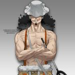 1boy black_hair closed_mouth commentary commission covered_eyes cowboy_shot crossed_arms english_commentary godekasu gradient gradient_background grey_background hat long_hair long_nose male_focus muscle one_piece shirtless sling smile solo standing suspenders twitter_username usopp veins