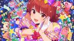 blush dress idolmaster_million_live!_theater_days nonohara_akane red_eyes redhead short_hair smile