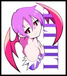 1girl artsy-rc bad_id bad_twitter_id bat_wings black_border border character_name closed_mouth covering covering_breasts flat_chest head_wings highres lilith_aensland looking_at_viewer purple_hair red_eyes slit_pupils smile solo upper_body vampire_(game) wings