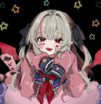 1girl :d bandaid bandaid_on_face bangs black_background black_ribbon blush cardigan collar demon_wings eyebrows_visible_through_hair fangs frilled_collar frilled_cuffs frilled_pillow frills grey_hair hair_intakes hair_ribbon heart highres looking_at_viewer makaino_ririmu multicolored_hair nijisanji open_mouth pillow pink_cardigan pointy_ears red_eyes ribbon sailor_collar smile solo star_(symbol) sticker streaked_hair two-tone_hair virtual_youtuber wabun wings