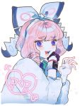 1girl bangs blush bow claw_pose collared_shirt dynamax_band eyebrows_visible_through_hair eyelashes fur_jacket g0m_0 gloves hairband heart highres jacket jewelry klara_(pokemon) looking_at_viewer looking_to_the_side mole mole_under_mouth open_mouth pink_hair pink_lips pokemon pokemon_(game) pokemon_swsh ring shirt single_glove smile solo violet_eyes white_background white_jacket