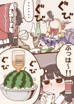 ... 2girls @_@ alcohol barefoot blue_skirt blush bottle bow bowl bowtie cup drinking drunk food fruit gourd hair_tubes hakurei_reimu hand_up holding holding_cup horn_bow horns ibuki_suika ice multiple_girls namesake poronegi red_neckwear sake sake_bottle skirt spoken_ellipsis touhou translation_request watermelon whiskey wristband