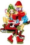 1990s_(style) 3girls bell blue_eyes boots cello_(lamune) closed_eyes drum_(lamune) earrings elbow_gloves gloves green_eyes green_hair hat highres ice_skates jewelry kotobuki_tsukasa light_blue_hair long_hair lying multiple_girls official_art on_side open_mouth pointy_footwear purple_hair red_footwear red_headwear santa_hat short_hair simple_background sitting skates trumpet_(lamune) vs_knight_lamune_&_40_fire white_background
