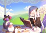 1girl :q bangs bara_(totocos) book bookmark brown_eyes butterfly_hair_ornament cake chair clouds cookie cup dessert echidna_(re:zero) eyebrows_visible_through_hair eyelashes flower food fork fruit grass hair_between_eyes hair_ornament highres holding holding_book long_hair mixed-language_commentary napkin open_book outdoors photoshop_(medium) plate re:zero_kara_hajimeru_isekai_seikatsu sitting strawberry strawberry_shortcake sunlight table tea teacup teapot tongue tongue_out white_eyelashes white_hair