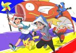 2boys absurdres ash_ketchum bangs black_hair black_pants blue_eyes closed_eyes commentary_request gen_1_pokemon gen_4_pokemon gen_8_pokemon goh_(pokemon) grass hand_behind_head highres holding jacket looking_to_the_side magikarp multiple_boys open_mouth pants pikachu pokemon pokemon_(anime) pokemon_(creature) pokemon_swsh_(anime) purple_shorts raboot riolu running shirt shoes short_sleeves shorts teeth tongue white_shirt yasuda_shuuhei