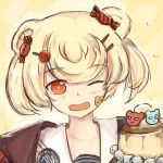 1girl ;d animal_ears arknights bear_ears bear_girl blackma_(pagus0012) blonde_hair bob_cut commentary dutch_angle english_commentary eyebrows_visible_through_hair facial_tattoo food gummy_(arknights) hair_ornament hairclip istina_(arknights) looking_at_viewer objectification one_eye_closed open_mouth orange_eyes portrait pudding sailor_collar short_hair smile solo tattoo yellow_background zima_(arknights)