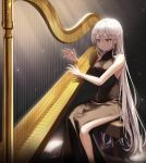 1girl bangs bare_shoulders bench black_dress blush breasts dress ekina_(1217) grey_eyes hair_between_eyes harp highres instrument light_particles light_rays long_hair medium_breasts music nail_polish original playing_instrument side_slit sitting sleeveless sleeveless_dress smile solo sparkle stool very_long_hair white_hair white_nails