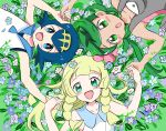 3girls :d anzu_(01010611) bangs bare_arms blonde_hair blue_eyes blue_hair blush braid collarbone commentary_request flower green_eyes green_hair hair_flower hair_ornament hairband highres holding_hands lana_(pokemon) lillie_(pokemon) long_hair looking_at_viewer lying mallow_(pokemon) multiple_girls no_sclera on_back open_mouth pink_flower pokemon pokemon_(game) pokemon_sm sailor_collar short_hair smile swept_bangs tongue twin_braids twintails