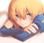 1girl absurdres artoria_pendragon_(all) blonde_hair blue_dress boa_(brianoa) braid braided_bun closed_mouth crossed_arms dress eyebrows_visible_through_hair eyes_visible_through_hair fate/stay_night fate_(series) fingernails green_eyes hair_between_eyes highres juliet_sleeves long_sleeves lying on_stomach puffy_sleeves saber smile solo twitter_username