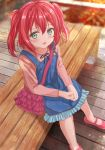 1girl :d bag bangs bench blue_dress blurry blurry_background blush dress frilled_bag frills from_above fushimi_asuha green_eyes hair_between_eyes handbag highres kurosawa_ruby long_sleeves looking_at_viewer love_live! love_live!_sunshine!! medium_hair open_mouth outdoors pink_bag pink_footwear pink_hair pink_shirt shirt sitting sleeveless sleeveless_dress smile solo sunset twintails