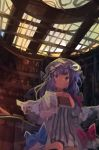 1girl absurdres bangs blue_bow book bow crescent crescent_hair_ornament dress hair_ornament hat highres holding holding_book indoors kaamin_(mariarose753) long_hair long_sleeves mob_cap open_mouth patchouli_knowledge purple_hair red_bow solo striped striped_dress touhou violet_eyes