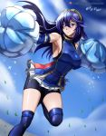 1girl absurdres armpits artist_name bare_shoulders bike_shorts blue_eyes blue_hair breasts cheerleader commentary_request fire_emblem hair_between_eyes highres long_hair looking_at_viewer lucina lucina_(fire_emblem) medium_breasts patreon_username pom_pom_(clothes) skirt smile solo thigh-highs vilde_loh_hocen watermark web_address
