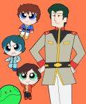 4boys amuro_ray blue_eyes blue_hair bright_noa brown_hair clenched_teeth commentary floating green_eyes gundam gundam_zz hands_on_hips haro highres judau_ashta kamille_bidan mobile_suit_gundam multiple_boys orange_background parody powerpuff_girls robot style_parody teeth uniform usa_(usagi7585) zeta_gundam