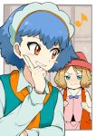 2girls bangs blue_eyes blue_hair blush blush_stickers clenched_hands commentary_request cu-sith eyebrows_visible_through_hair fingernails flying_sweatdrops green_shirt hand_up hat light_brown_hair long_sleeves looking_back miette_(pokemon) multiple_girls musical_note pokemon pokemon_(anime) pokemon_xy_(anime) red_eyes red_headwear ribbon serena_(pokemon) shirt short_hair smile teeth upper_body wavy_mouth