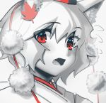 1girl animal_ears blush boa_(brianoa) fang flying_sweatdrops hat highres inubashiri_momiji leaf limited_palette looking_at_viewer maple_leaf monochrome open_mouth pom_pom_(clothes) portrait red_eyes red_theme simple_background solo spot_color tokin_hat touhou white_background wolf_ears